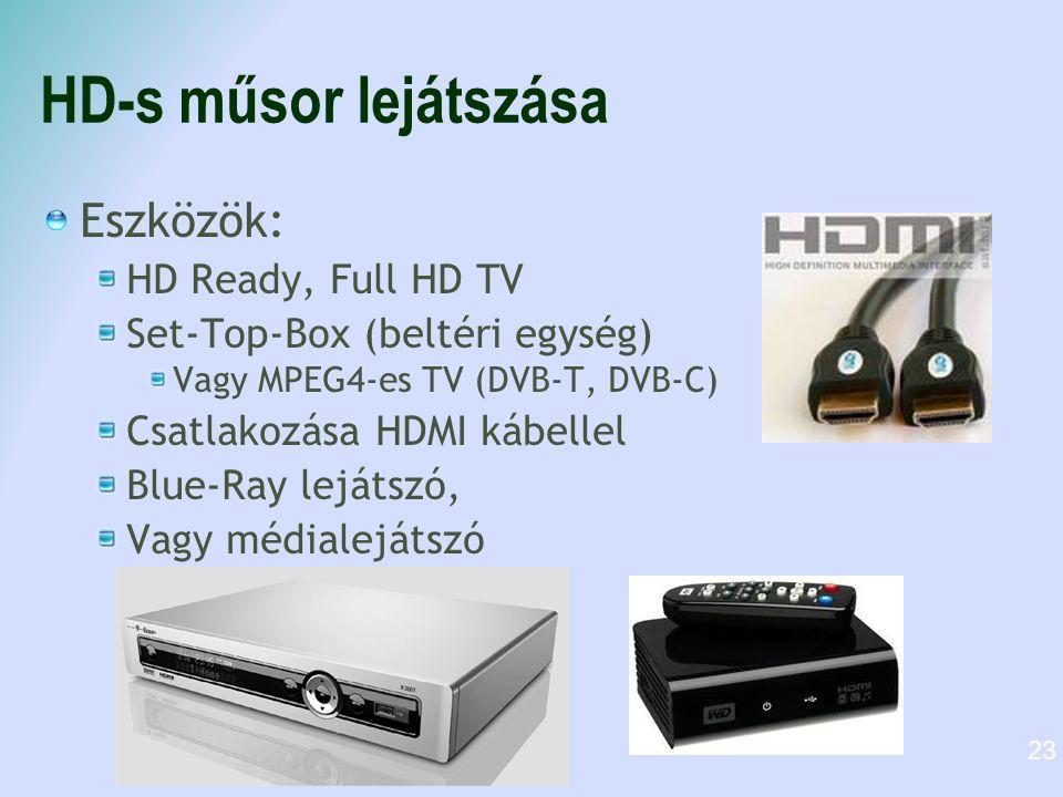 HD-s műsor lejátszása Eszközök: HD Ready, Full HD TV Set-Top-Box (beltéri egység) Vagy MPEG4-es TV (DVB-T, DVB-C) Csatlakozása HDMI kábellel Blue-Ray lejátszó, Vagy médialejátszó 23