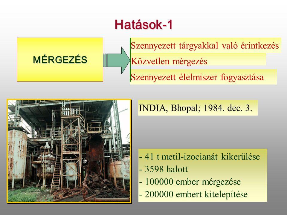 Hatások-1 MÉRGEZÉS Szennyezett tárgyakkal való érintkezés Közvetlen mérgezés Szennyezett élelmiszer fogyasztása INDIA, Bhopal; 1984.