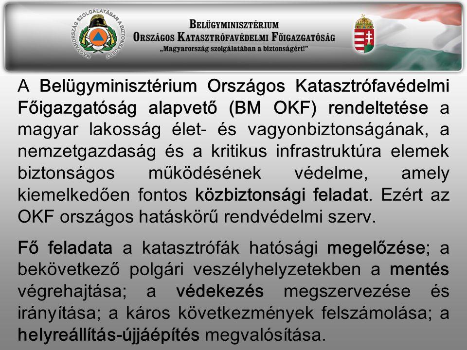 A Belügyminisztérium Országos Katasztrófavédelmi Főigazgatóság alapvető (BM OKF) rendeltetése a magyar lakosság élet- és vagyonbiztonságának, a nemzetgazdaság és a kritikus infrastruktúra elemek biztonságos működésének védelme, amely kiemelkedően fontos közbiztonsági feladat.