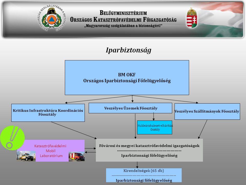 BM OKF Országos Iparbiztonsági Főfelügyelőség Veszélyes Üzemek Főosztály Veszélyes Szállítmányok Főosztály Fővárosi és megyei katasztrófavédelmi igazgatóságok ------------------------------------------------ Iparbiztonsági főfelügyelőség Nukleárisbaleset-elhárítási Osztály Kritikus Infrastruktúra Koordinációs Főosztály Katasztrófavédelmi Mobil Laboratórium Iparbiztonság Kirendeltségek (65 db) ------------------------------------------------ Iparbiztonsági főfelügyelőség