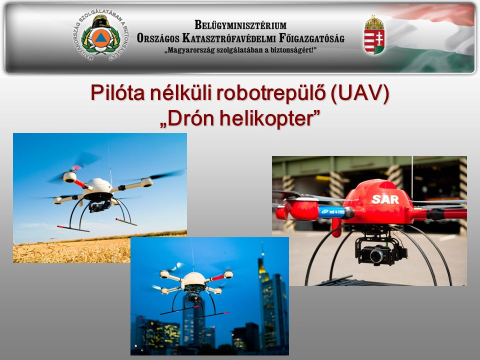 """Pilóta nélküli robotrepülő (UAV) """"Drón helikopter"""