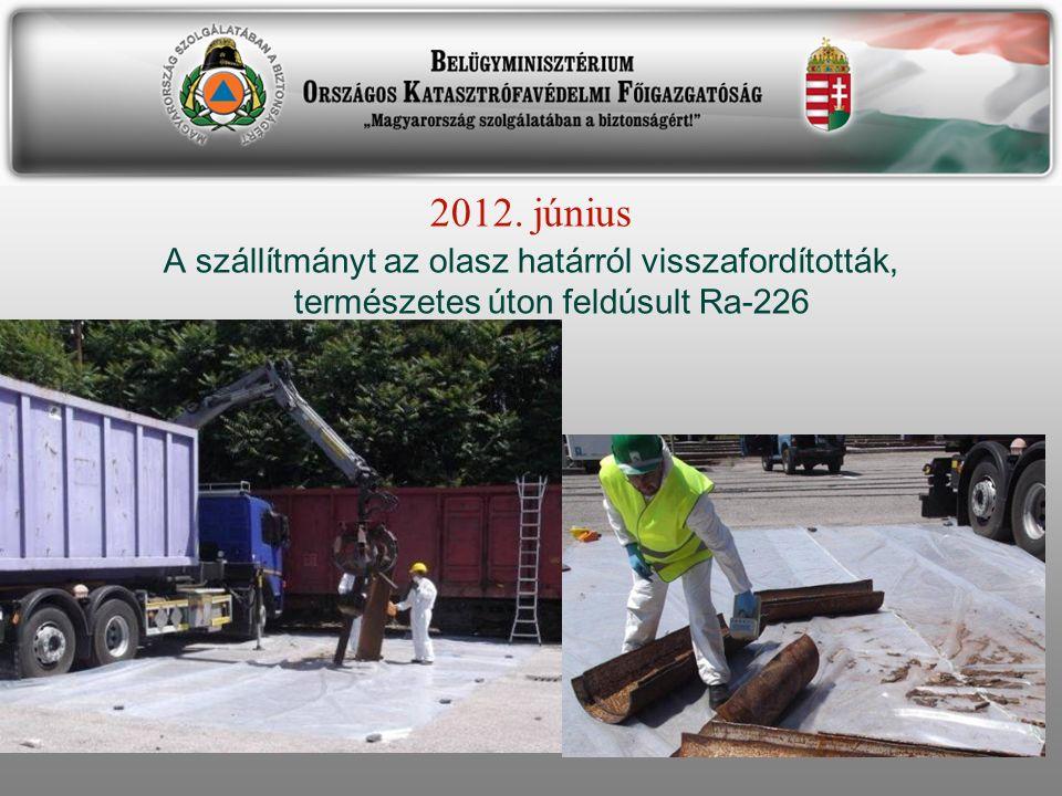 2012. június A szállítmányt az olasz határról visszafordították, természetes úton feldúsult Ra-226