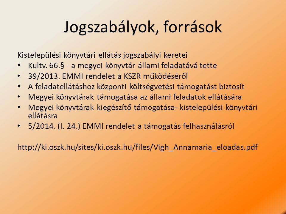Jogszabályok, források Kistelepülési könyvtári ellátás jogszabályi keretei Kultv. 66.§ - a megyei könyvtár állami feladatává tette 39/2013. EMMI rende