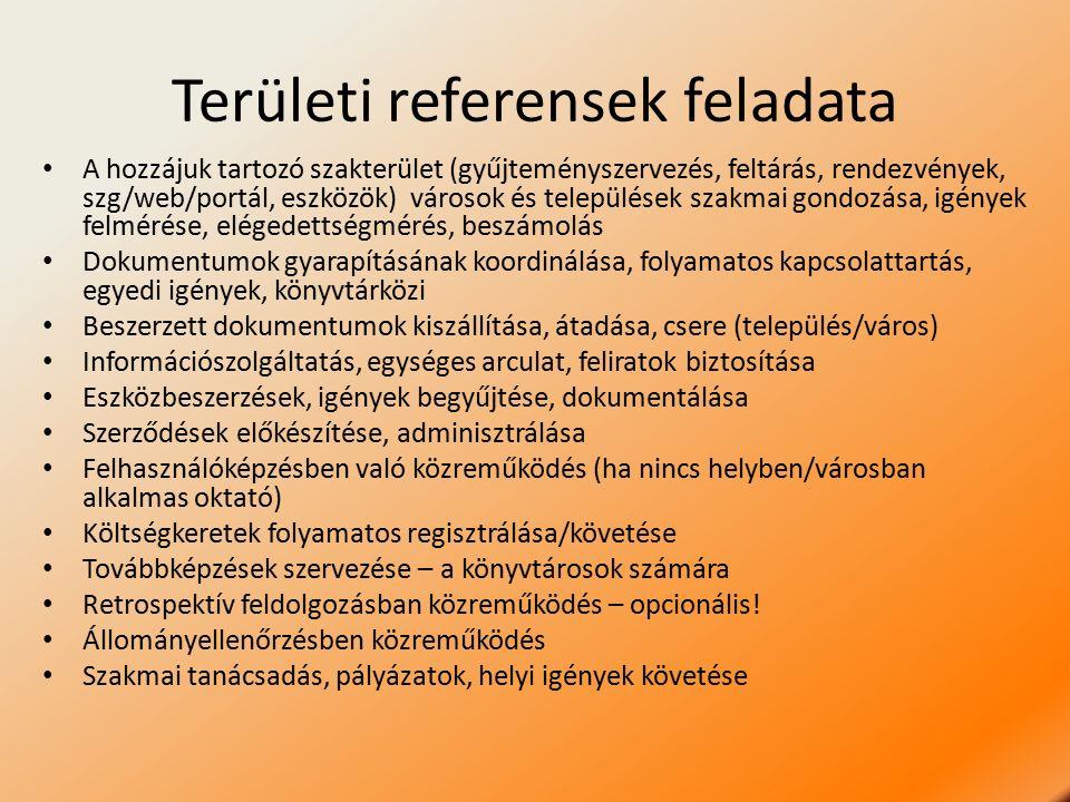 Területi referensek feladata A hozzájuk tartozó szakterület (gyűjteményszervezés, feltárás, rendezvények, szg/web/portál, eszközök) városok és települések szakmai gondozása, igények felmérése, elégedettségmérés, beszámolás Dokumentumok gyarapításának koordinálása, folyamatos kapcsolattartás, egyedi igények, könyvtárközi Beszerzett dokumentumok kiszállítása, átadása, csere (település/város) Információszolgáltatás, egységes arculat, feliratok biztosítása Eszközbeszerzések, igények begyűjtése, dokumentálása Szerződések előkészítése, adminisztrálása Felhasználóképzésben való közreműködés (ha nincs helyben/városban alkalmas oktató) Költségkeretek folyamatos regisztrálása/követése Továbbképzések szervezése – a könyvtárosok számára Retrospektív feldolgozásban közreműködés – opcionális.