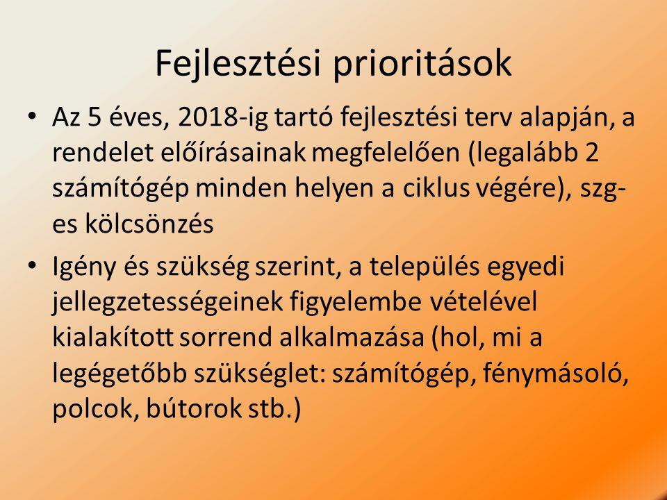Fejlesztési prioritások Az 5 éves, 2018-ig tartó fejlesztési terv alapján, a rendelet előírásainak megfelelően (legalább 2 számítógép minden helyen a