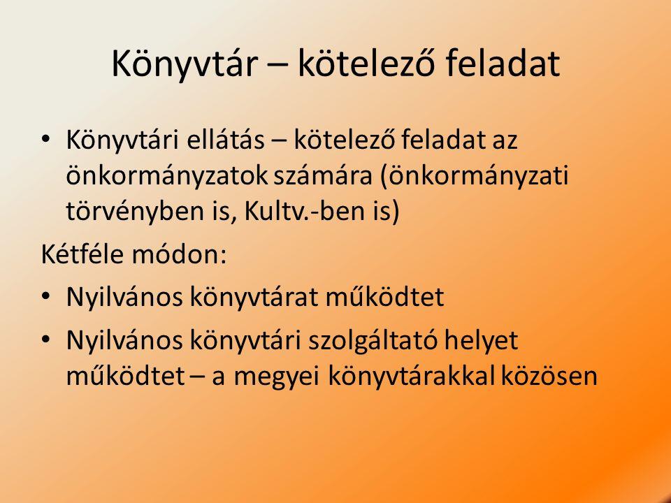 Könyvtár – kötelező feladat Könyvtári ellátás – kötelező feladat az önkormányzatok számára (önkormányzati törvényben is, Kultv.-ben is) Kétféle módon: