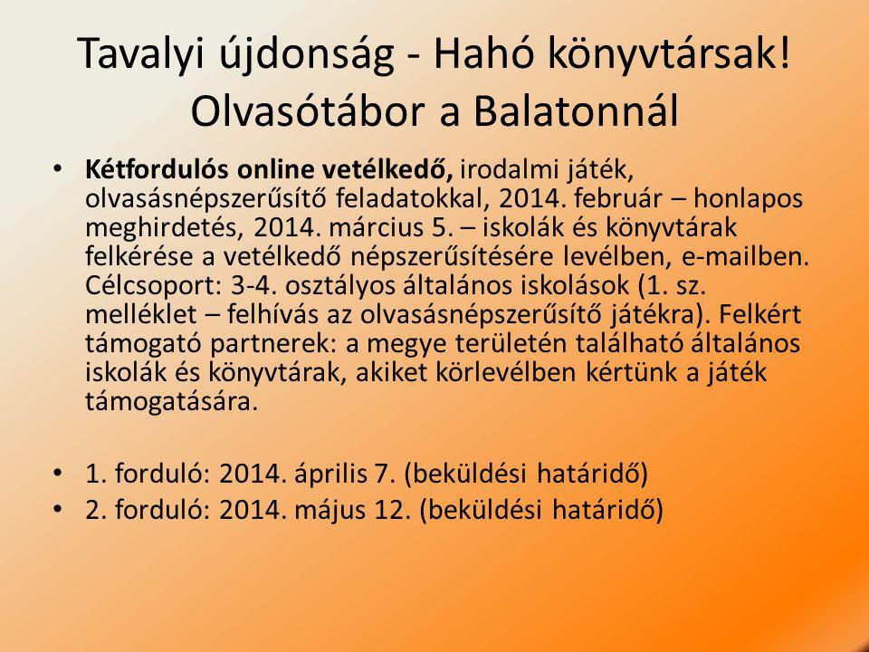 Tavalyi újdonság - Hahó könyvtársak! Olvasótábor a Balatonnál Kétfordulós online vetélkedő, irodalmi játék, olvasásnépszerűsítő feladatokkal, 2014. fe