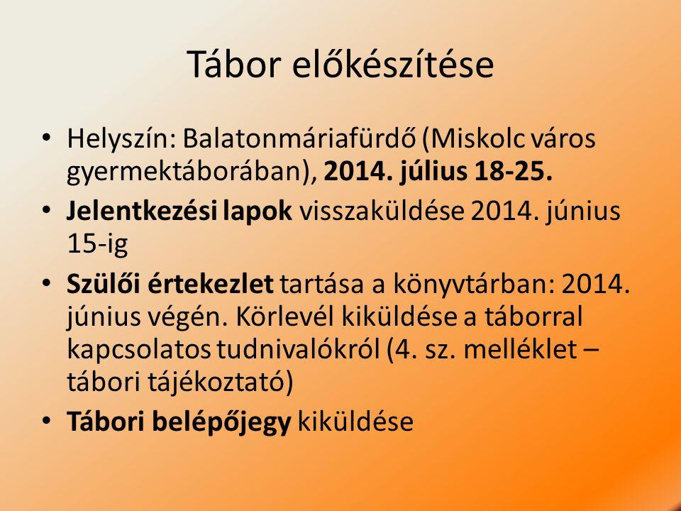 Tábor előkészítése Helyszín: Balatonmáriafürdő (Miskolc város gyermektáborában), 2014. július 18-25. Jelentkezési lapok visszaküldése 2014. június 15-