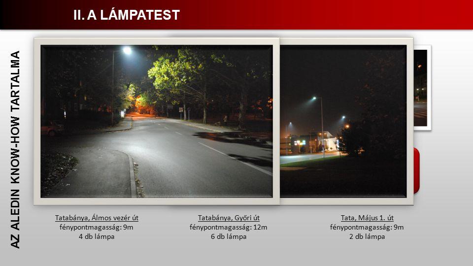 Megfelelő színvisszadás Egyenletes világítási kép Nincs fényszennyezés AZ ALEDIN KNOW-HOW TARTALMA Tatabánya, Álmos vezér út fénypontmagasság: 9m 4 db lámpa Tatabánya, Győri út fénypontmagasság: 12m 6 db lámpa Tata, Május 1.