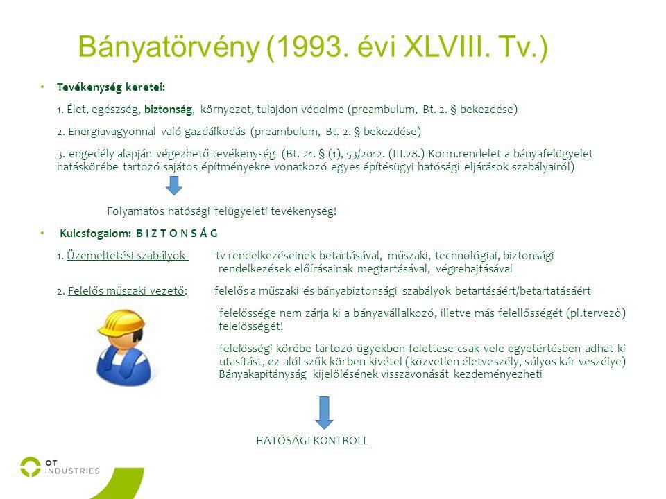Bányatörvény (1993. évi XLVIII. Tv.) Tevékenység keretei: 1.