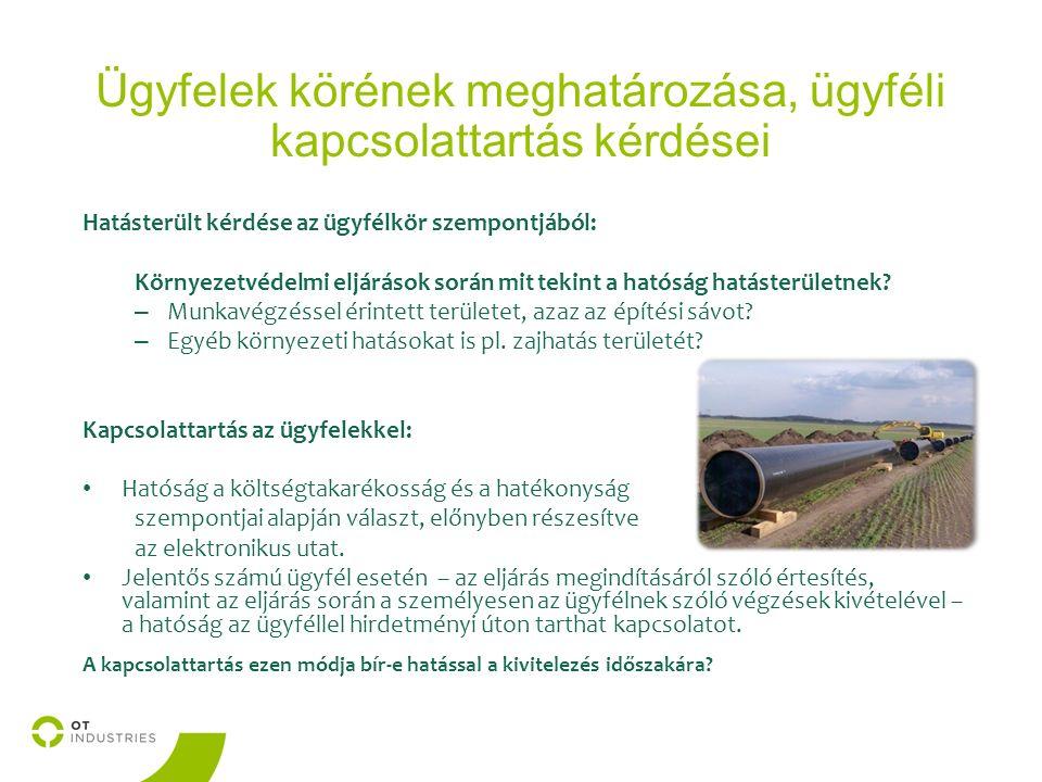 Ügyfelek körének meghatározása, ügyféli kapcsolattartás kérdései Hatásterült kérdése az ügyfélkör szempontjából: Környezetvédelmi eljárások során mit tekint a hatóság hatásterületnek.