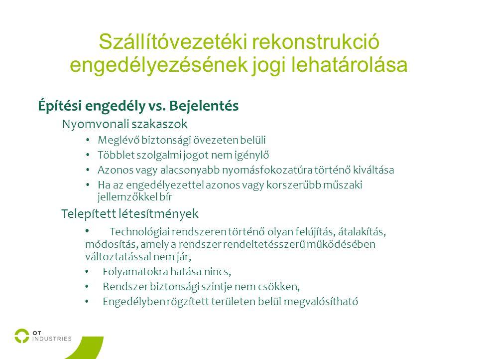 Szállítóvezetéki rekonstrukció engedélyezésének jogi lehatárolása Építési engedély vs.