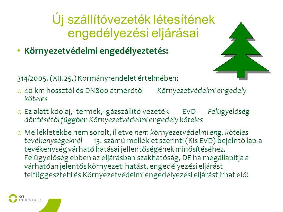 Új szállítóvezeték létesítének engedélyezési eljárásai Környezetvédelmi engedélyeztetés: 314/2005.