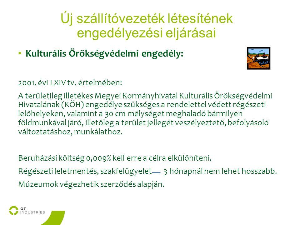 Új szállítóvezeték létesítének engedélyezési eljárásai Kulturális Örökségvédelmi engedély: 2001.