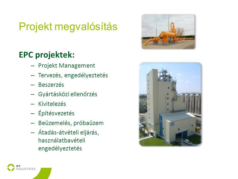 Projekt megvalósítás EPC projektek: – Projekt Management – Tervezés, engedélyeztetés – Beszerzés – Gyártásközi ellenőrzés – Kivitelezés – Építésvezetés – Beüzemelés, próbaüzem – Átadás-átvételi eljárás, használatbavételi engedélyeztetés