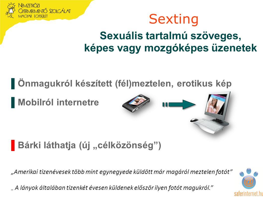 """▌Bárki láthatja (új """"célközönség ) """"Amerikai tizenévesek több mint egynegyede küldött már magáról meztelen fotót """" A lányok általában tizenkét évesen küldenek először ilyen fotót magukról. Sexting Sexuális tartalmú szöveges, képes vagy mozgóképes üzenetek ▌Önmagukról készített (fél)meztelen, erotikus kép ▌Mobilról internetre"""