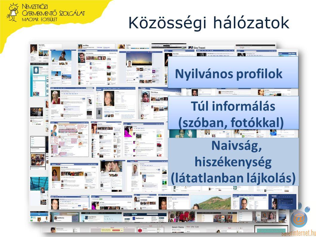 Közösségi hálózatok Nyilvános profilok Túl informálás (szóban, fotókkal) Naivság, hiszékenység (látatlanban lájkolás)