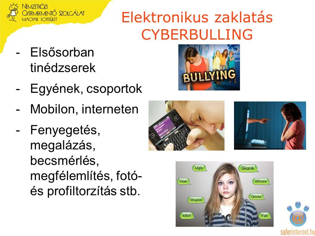 Elektronikus zaklatás CYBERBULLING -Elsősorban tinédzserek -Egyének, csoportok -Mobilon, interneten -Fenyegetés, megalázás, becsmérlés, megfélemlítés, fotó- és profiltorzítás stb.