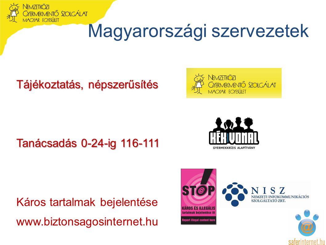 Magyarországi szervezetek Tájékoztatás, népszerűsítés Tanácsadás 0-24-ig 116-111 Káros tartalmak bejelentése www.biztonsagosinternet.hu
