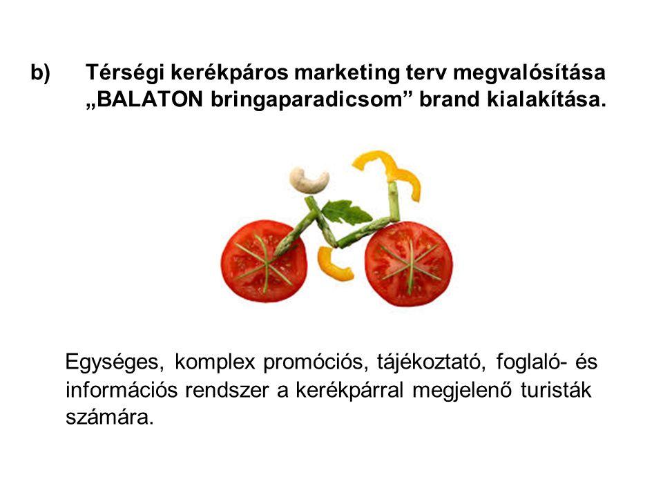 """b)Térségi kerékpáros marketing terv megvalósítása """"BALATON bringaparadicsom brand kialakítása."""