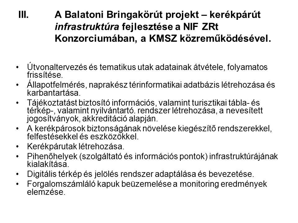 III.A Balatoni Bringakörút projekt – kerékpárút infrastruktúra fejlesztése a NIF ZRt Konzorciumában, a KMSZ közreműködésével.