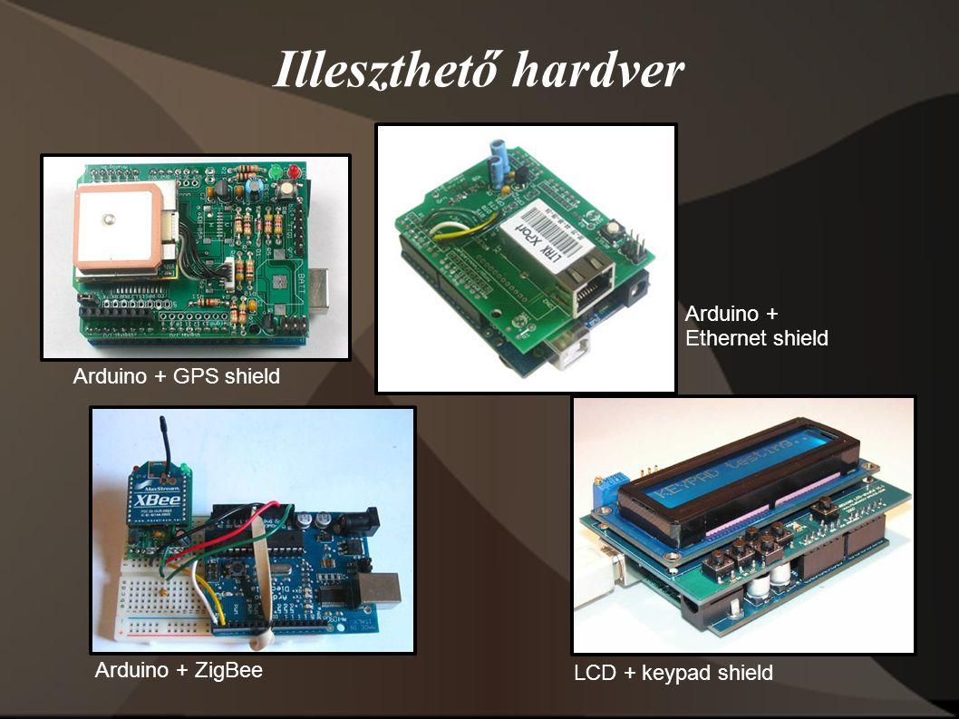 Illeszthető hardver Arduino + GPS shield Arduino + Ethernet shield Arduino + ZigBee LCD + keypad shield