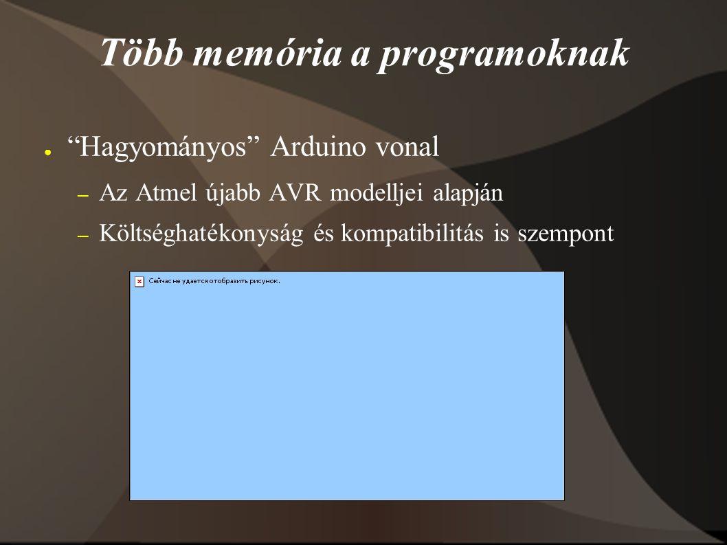 Több memória a programoknak ● Hagyományos Arduino vonal – Az Atmel újabb AVR modelljei alapján – Költséghatékonyság és kompatibilitás is szempont