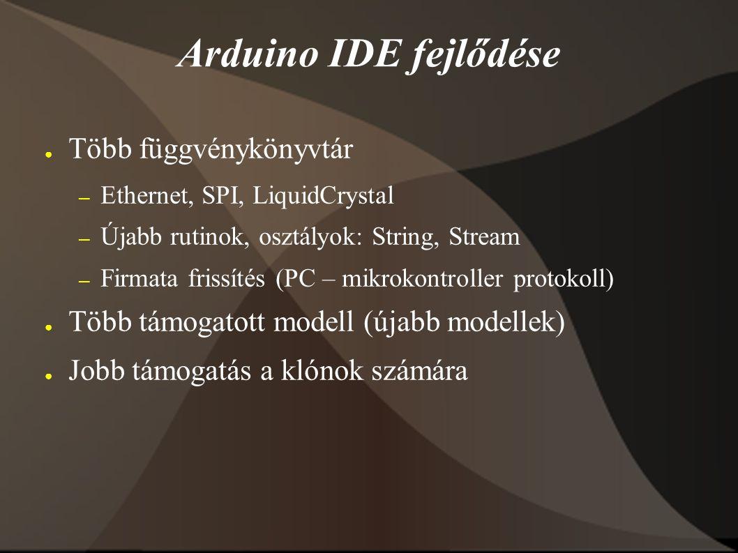 Arduino IDE fejlődése ● Több függvénykönyvtár – Ethernet, SPI, LiquidCrystal – Újabb rutinok, osztályok: String, Stream – Firmata frissítés (PC – mikrokontroller protokoll) ● Több támogatott modell (újabb modellek) ● Jobb támogatás a klónok számára