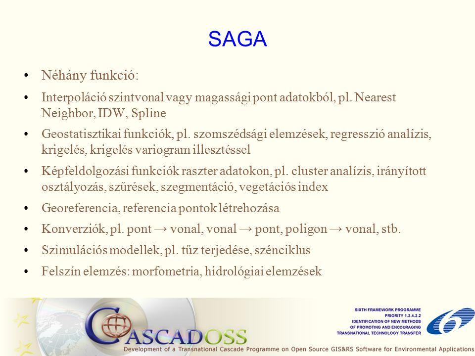 SAGA Néhány funkció: Interpoláció szintvonal vagy magassági pont adatokból, pl.