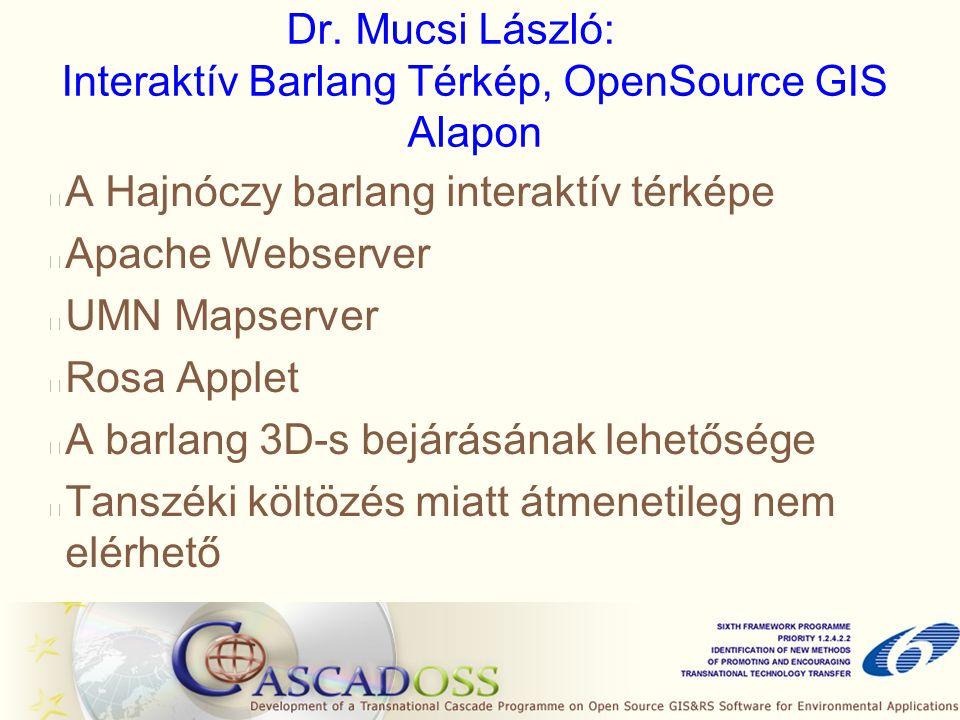 Dr. Mucsi László: Interaktív Barlang Térkép, OpenSource GIS Alapon A Hajnóczy barlang interaktív térképe Apache Webserver UMN Mapserver Rosa Applet A