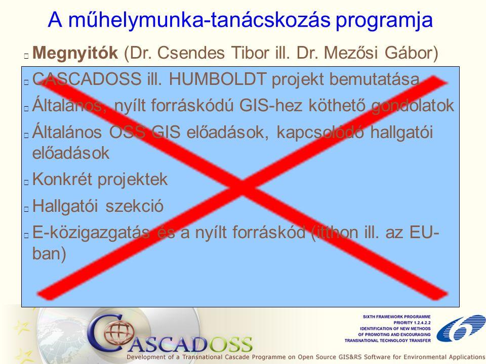 Szabó Péter: Az OSS lehetőségei a szegedi képzésben GanttProject Projektmenedzsment MapServer, GeoServer, GeoNetwork OSArcIMSWeb-GIS PowerSimModellezés és szimuláció GRASS, ILWISErdasTávérzékelés QGIS, SAGA, ILWIS, HidroSIGArcGIS 9.2, Erdas (LPS)Domborzat modellezés QGIS, uDIG, gvSigArcView 3.2, ArcGIS 9.2, ErdasTérbeli, környezeti elemzések QGIS, uDIG, gvSig ArcView 3.2, ArcGIS 9.2 Digitális térképek előállítása Alkalmazható OS szoftverJelenlegi szoftverGIS funkció
