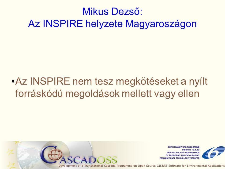 Mikus Dezső: Az INSPIRE helyzete Magyaroszágon Az INSPIRE nem tesz megkötéseket a nyílt forráskódú megoldások mellett vagy ellen