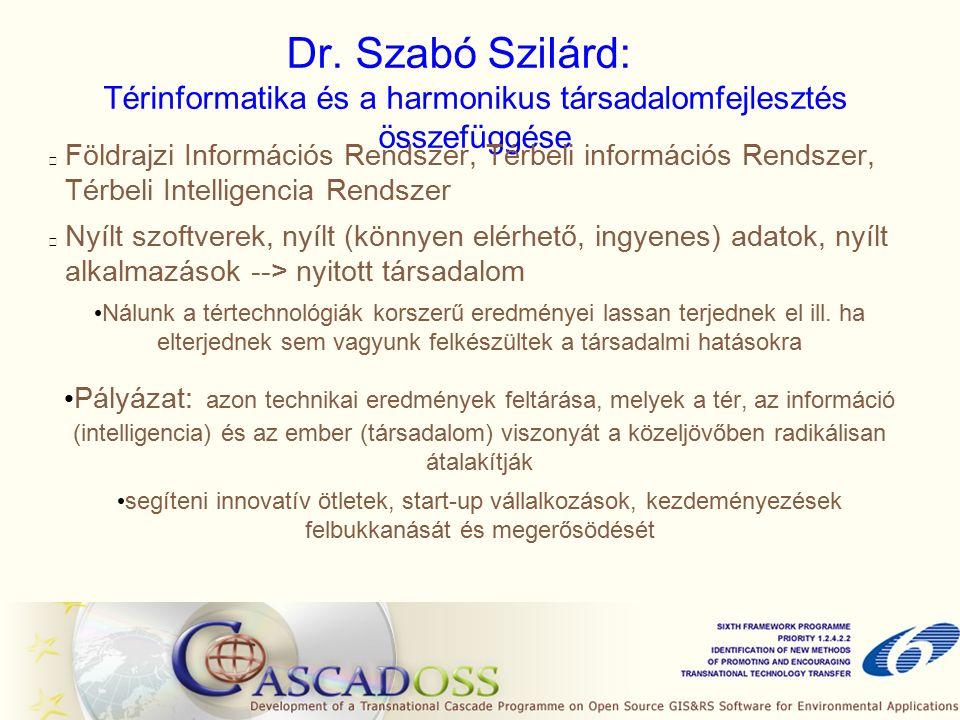 Dr. Szabó Szilárd: Térinformatika és a harmonikus társadalomfejlesztés összefüggése Földrajzi Információs Rendszer, Térbeli információs Rendszer, Térb