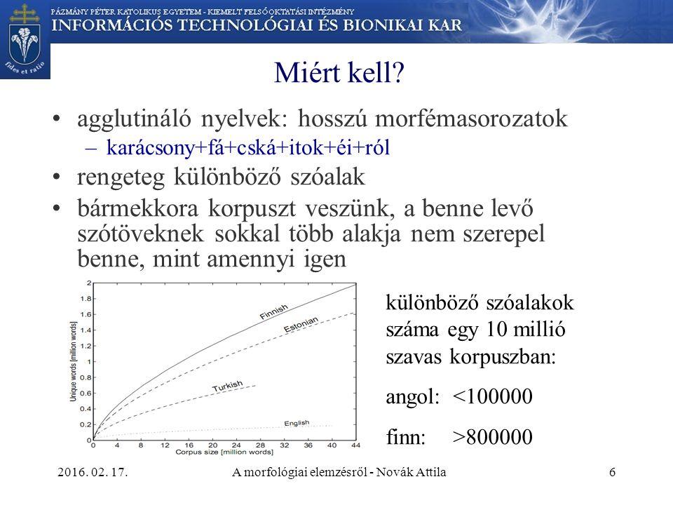 2016. 02. 17.A morfológiai elemzésről - Novák Attila6 Miért kell.