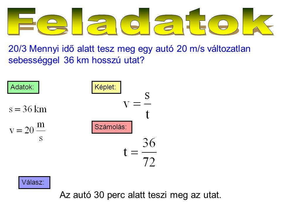 20/3 Mennyi idő alatt tesz meg egy autó 20 m/s változatlan sebességgel 36 km hosszú utat? Válasz: Számolás: Képlet:Adatok: Az autó 30 perc alatt teszi