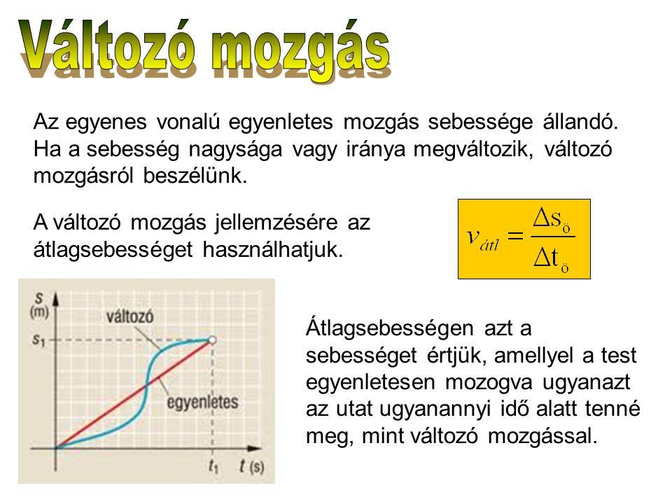 Az egyenes vonalú egyenletes mozgás sebessége állandó. Ha a sebesség nagysága vagy iránya megváltozik, változó mozgásról beszélünk. A változó mozgás j