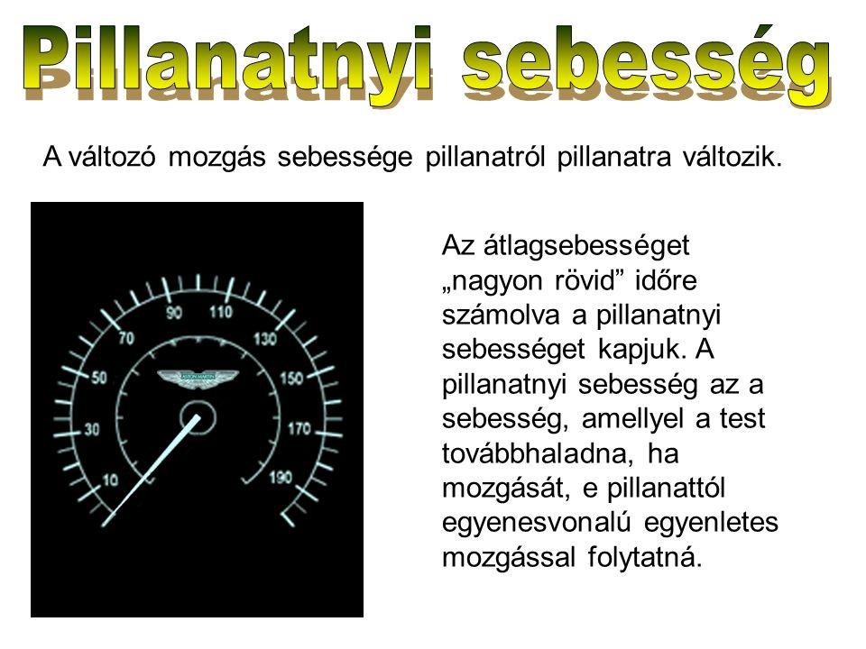 """A változó mozgás sebessége pillanatról pillanatra változik. Az átlagsebességet """"nagyon rövid"""" időre számolva a pillanatnyi sebességet kapjuk. A pillan"""