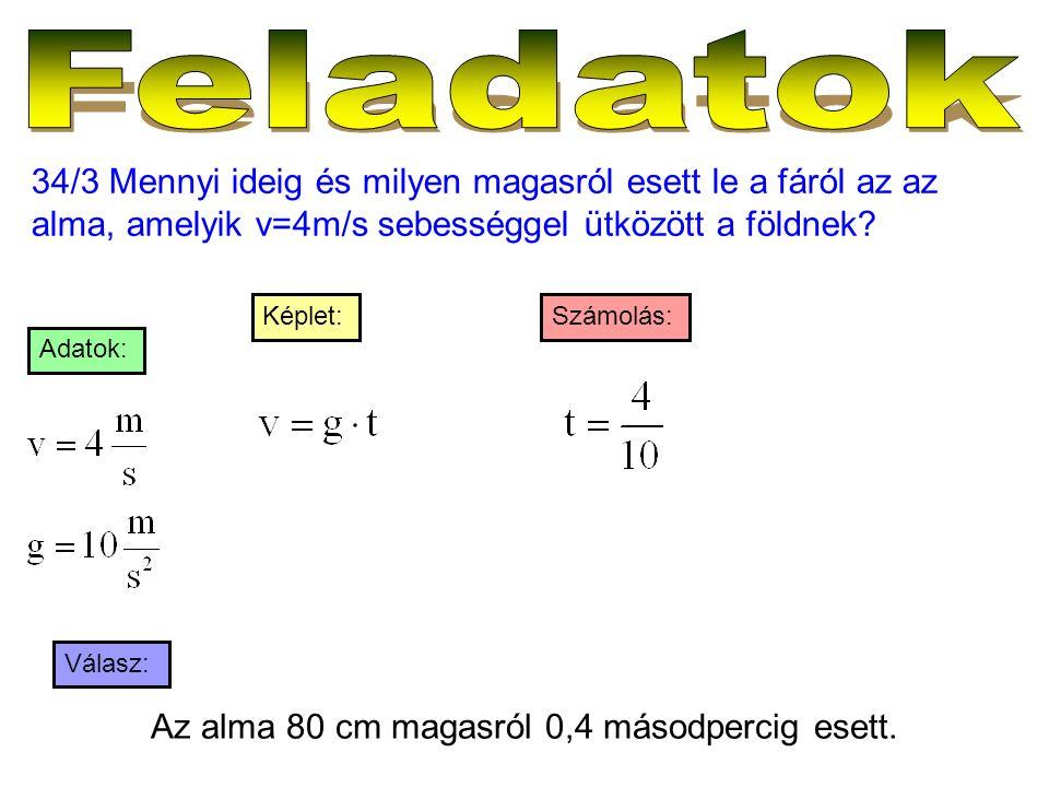 34/3 Mennyi ideig és milyen magasról esett le a fáról az az alma, amelyik v=4m/s sebességgel ütközött a földnek? Válasz: Számolás:Képlet: Adatok: Az a