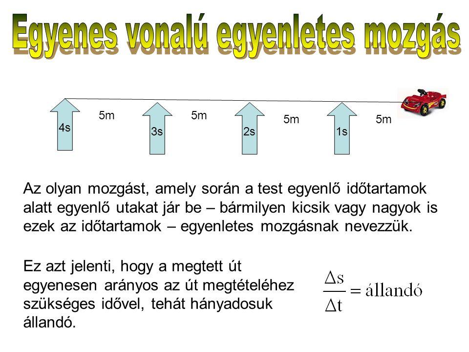 Az olyan mozgást, amely során a test egyenlő időtartamok alatt egyenlő utakat jár be – bármilyen kicsik vagy nagyok is ezek az időtartamok – egyenletes mozgásnak nevezzük.