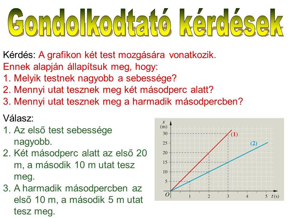 Kérdés: A grafikon két test mozgására vonatkozik. Ennek alapján állapítsuk meg, hogy: 1. Melyik testnek nagyobb a sebessége? 2. Mennyi utat tesznek me