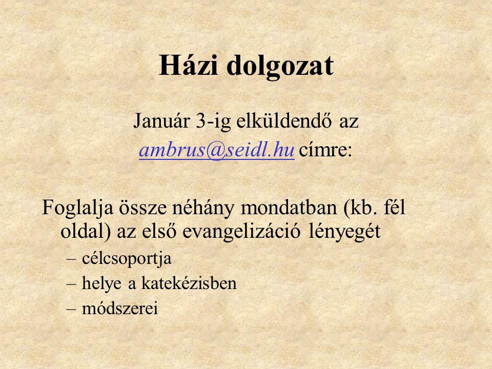 Házi dolgozat Január 3-ig elküldendő az ambrus@seidl.hu címre: Foglalja össze néhány mondatban (kb.