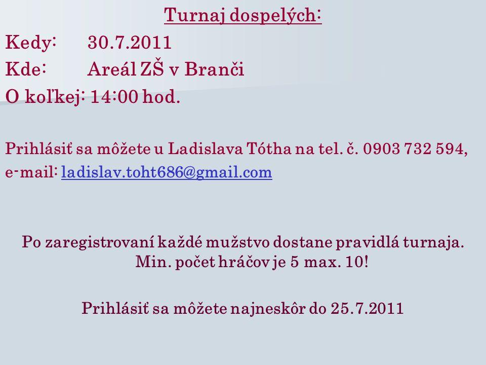 Turnaj žiakov: Kedy: 30.7.2011 Kde: Areál ZŠ v Branči O koľkej: 9:00 hod.