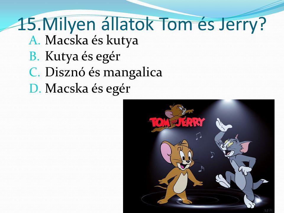 15.Milyen állatok Tom és Jerry. A. Macska és kutya B.