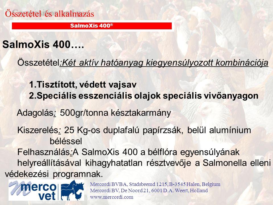 Összetétel és alkalmazás SalmoXis 400 ® SalmoXis 400…. Összetétel:Két aktív hatóanyag kiegyensúlyozott kombinációja 1.Tisztított, védett vajsav 2.Spec