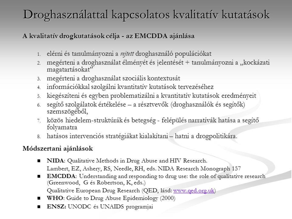 Droghasználattal kapcsolatos kvalitatív kutatások A kvalitatív drogkutatások célja - az EMCDDA ajánlása 1.