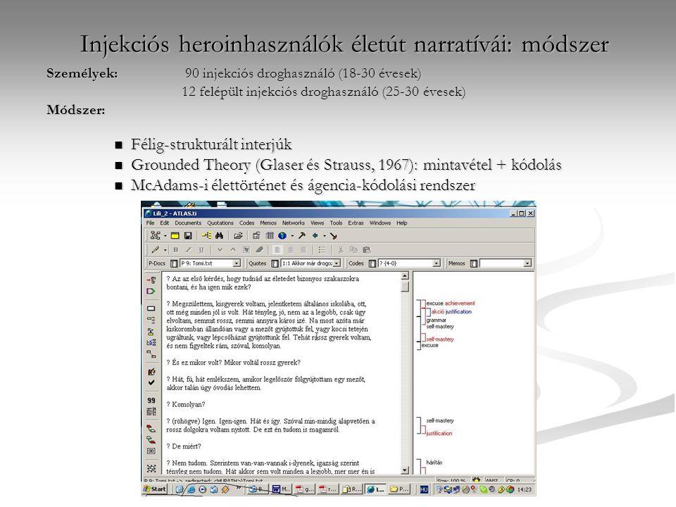 Injekciós heroinhasználók életút narratívái: módszer Személyek: 90 injekciós droghasználó (18-30 évesek) 12 felépült injekciós droghasználó (25-30 évesek) Módszer: Félig-strukturált interjúk Félig-strukturált interjúk Grounded Theory (Glaser és Strauss, 1967): mintavétel + kódolás Grounded Theory (Glaser és Strauss, 1967): mintavétel + kódolás McAdams-i élettörténet és ágencia-kódolási rendszer McAdams-i élettörténet és ágencia-kódolási rendszer