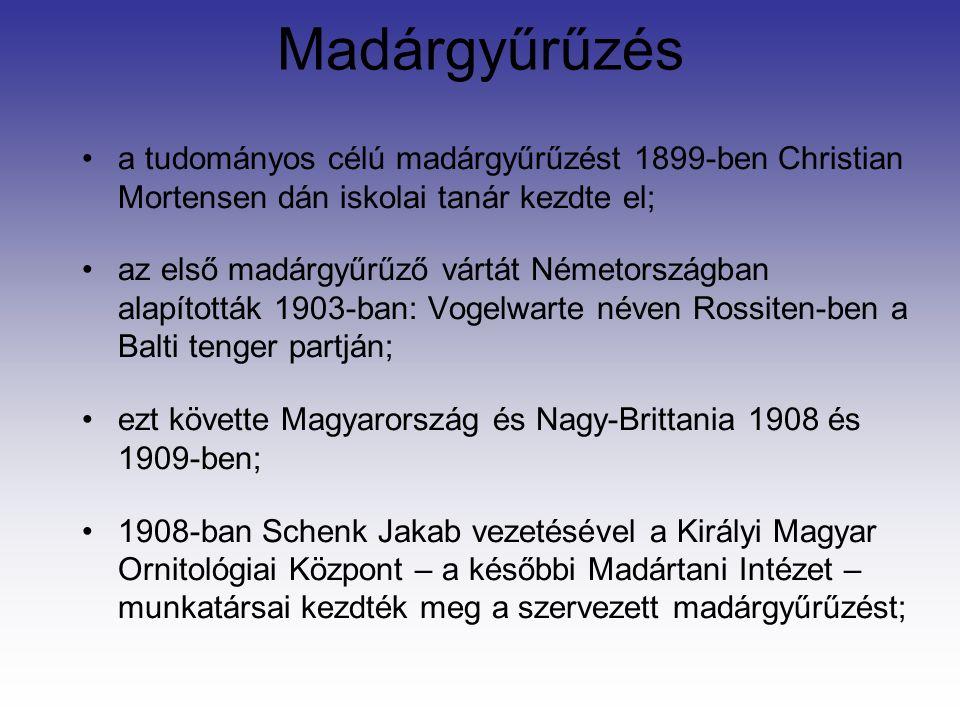 Madárgyűrűzés a tudományos célú madárgyűrűzést 1899-ben Christian Mortensen dán iskolai tanár kezdte el; az első madárgyűrűző vártát Németországban alapították 1903-ban: Vogelwarte néven Rossiten-ben a Balti tenger partján; ezt követte Magyarország és Nagy-Brittania 1908 és 1909-ben; 1908-ban Schenk Jakab vezetésével a Királyi Magyar Ornitológiai Központ – a későbbi Madártani Intézet – munkatársai kezdték meg a szervezett madárgyűrűzést;