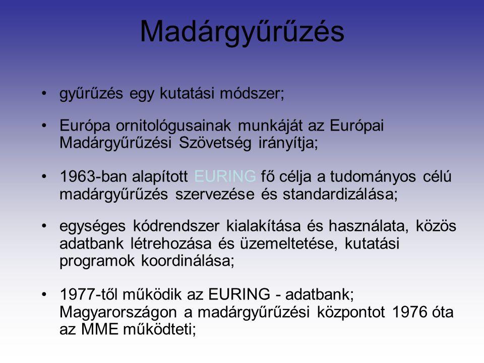 Madárgyűrűzés gyűrűzés egy kutatási módszer; Európa ornitológusainak munkáját az Európai Madárgyűrűzési Szövetség irányítja; 1963-ban alapított EURING fő célja a tudományos célú madárgyűrűzés szervezése és standardizálása; egységes kódrendszer kialakítása és használata, közös adatbank létrehozása és üzemeltetése, kutatási programok koordinálása; 1977-től működik az EURING - adatbank; Magyarországon a madárgyűrűzési központot 1976 óta az MME működteti;