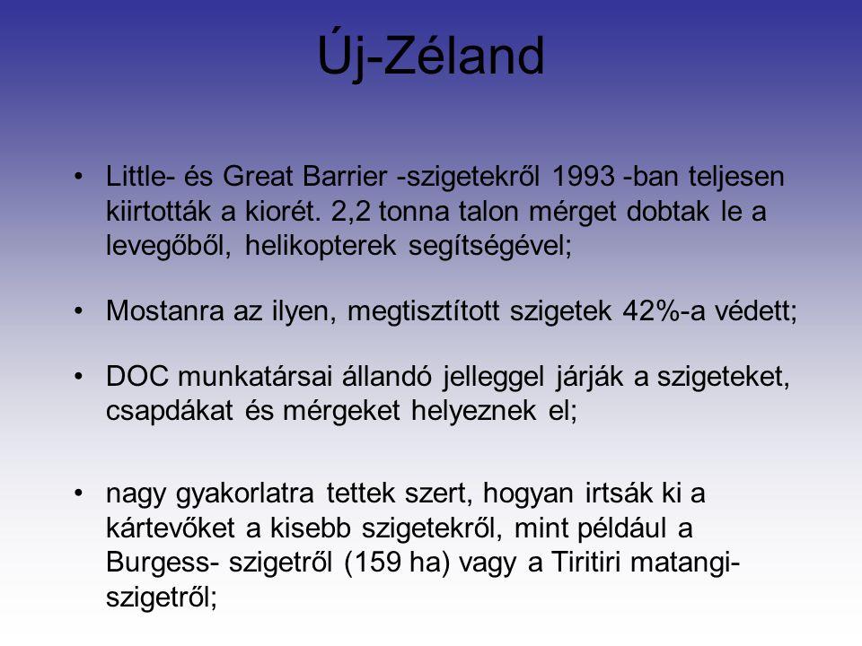 Új-Zéland Little- és Great Barrier -szigetekről 1993 -ban teljesen kiirtották a kiorét.