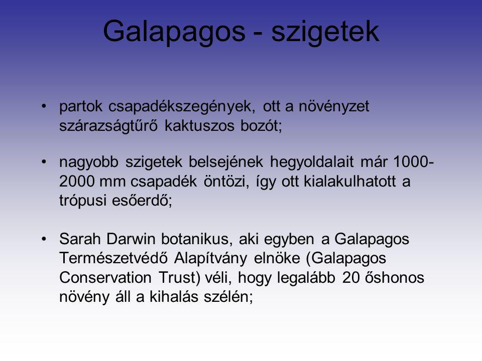 Galapagos - szigetek partok csapadékszegények, ott a növényzet szárazságtűrő kaktuszos bozót; nagyobb szigetek belsejének hegyoldalait már 1000- 2000 mm csapadék öntözi, így ott kialakulhatott a trópusi esőerdő; Sarah Darwin botanikus, aki egyben a Galapagos Természetvédő Alapítvány elnöke (Galapagos Conservation Trust) véli, hogy legalább 20 őshonos növény áll a kihalás szélén;